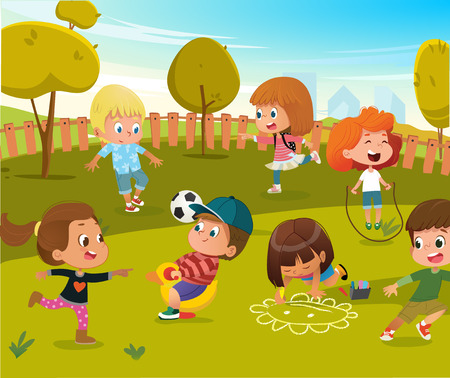 Baby Play Kindergarten Playground Illustration. Children Play Football and Swing Outdoor in Summer Green Tree Park. Happy Boy and Girl Vector Cartoon Character Activity Toy Equipment.  イラスト・ベクター素材
