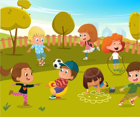 Illustration d'une aire de jeux pour bébé jouer à la maternelle. Les enfants jouent au football et à la balançoire en plein air dans le parc des arbres verts d'été. Heureux garçon et fille équipement de jouet d'activité de personnage de dessin animé de vecteur.