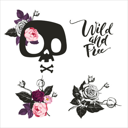 Set of Cute Cartoon Skull decorated with rose flowers, bouquets, skull sign, Wild and Free Lettering, Can be used as print art, t-shirt print, design. Vector illustration. Isolated.