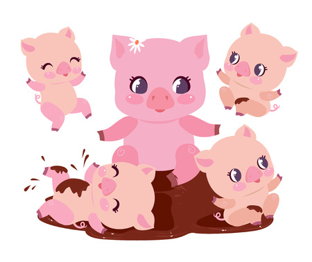 Cute Pig Family Bathe Dirt Puddle Flat Vector Illustration. Happy Chubby Baby Swine Play in Dirty Mud. Pink Young Piglet Animal Mascot Funny Character Cartoon Graphic