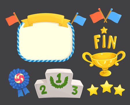 Game rating icons with stars game element, flags, awards, gold cup, inscriptions for game ending and fin, level results icon
