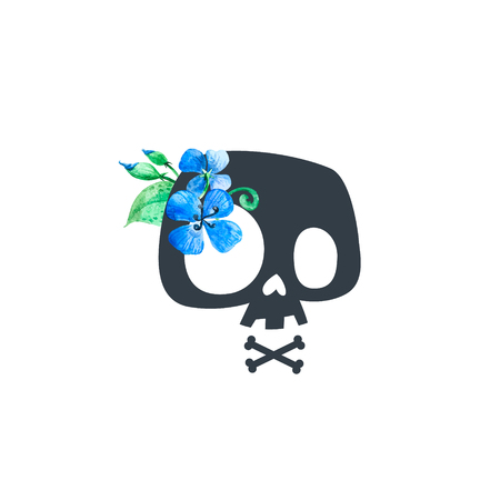 Cartoon Skull decorated with blue flowers. Stylized skull, t-shirt print, skull sign, teenager print art, card design. Vector illustration. Isolated Stock Photo
