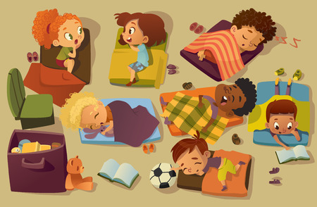 Kindergarten Nap Time Kid Vector Illustration. Preschool Multiracial Children Sleep on Bed, Girl Friend Gossip. Little Baby Character Dream in Bedroom. Child Group Daily Routine Schedule