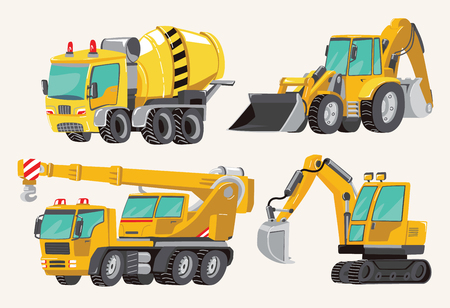 Set of Toy Construction Equipment in Yellow. Special Machines for the Building Work. Forklifts, Cranes, Excavators, Tractors, trucks, cars, concrete mixer, trailer. Vector illustration