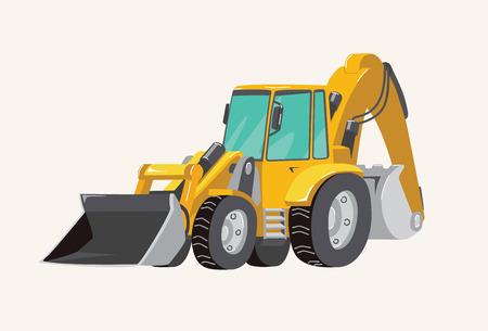 Funny cute hand drawn cartoon vehicles. Toy Car. Bright cartoon yellow , Vector illustration.
