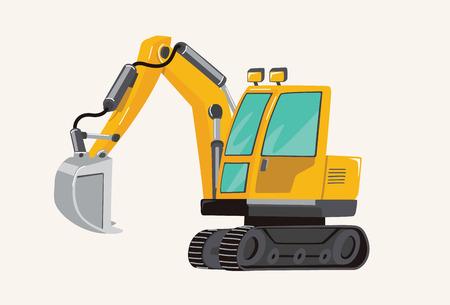 Véhicules de dessin animé drôle mignon dessinés à la main. Petite voiture. Excavatrice jaune de bande dessinée lumineuse, machines spéciales pour les véhicules de construction de jouets pour les garçons. Illustration vectorielle