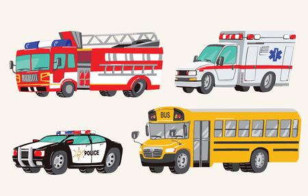 Conjunto de vehículos sociales de juguete. Máquinas especiales, coche de policía, camión de bomberos, ambulancia, autobús escolar, autobús urbano. Carros de juguete. Ilustración de vector.
