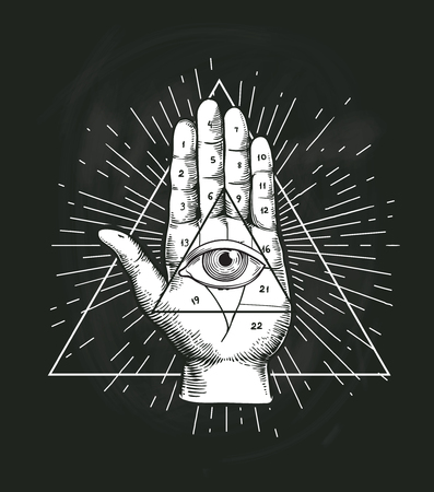 All Seeing Eye Triangle Geometric Vector Design. Providance Pyramid Tattoo Symbol with Occult Secret Hand Sign. Mystic Spiritual Illuminati Emblem Sketch Drawing Illustration 版權商用圖片 - 120403193