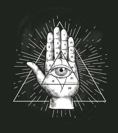 Todo el diseño del vector geométrico del triángulo del ojo que ve. Símbolo de tatuaje de pirámide de provisión con signo de mano secreto oculto. Ilustración de dibujo de boceto de emblema de Illuminati espiritual místico