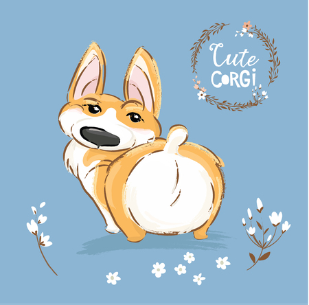 Cute Corgi Dog Puppy Back Tail Vector Illustration. Pretty Fox Pet Character Outdoor Poster. Little Happy Brown Doggy Series in Flower on Blue Background Flat Cartoon Print Banner.