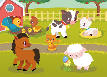 Farm Animal Happy Character Vector Illustration. Domestic Chicken, Horse and Sheep Outdoor behind Fence. Cat, Little Calf and Goat Play in Village Field Landscape Book Clipart Background.