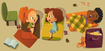 Elementary Class Bedtime Character Illustration. Kindergarten Multiracial Children Nap Time, Girl Friend Gossip. African Little Boy Character Sleep in Bed. Kindergarten Baby Read in Pajama. Çizim