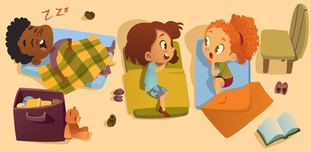 Preschool Sleep Time Baby Vector Illustration. Kindergarten Multiracial Children Bedtime, Girl Friend Gossip. African Little Boy Character Dream in Bed. Elementary Class Daily Schedule. Illustration