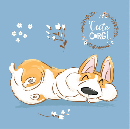 Cute Corgi Dog Puppy Sleep Vector Banner. Welsh Short Fox Pet Character Rest Pose Poster. Little Cheerful Brown Doggy Series in Flower on Blue Background Flat Cartoon Print Poster.