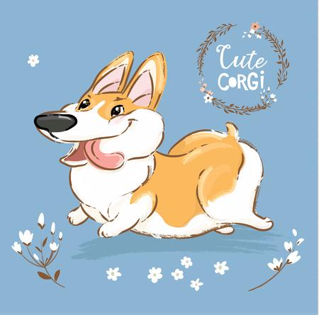 Aufgeregt Corgi Dog Run Zunge heraus Vektor Poster. Happy Fox Pet Character Walk Outdoor in Blumen. Kleine lustige walisische Doggy-Reihe auf blauem Hintergrund-flache Karikatur-Druckfahne.