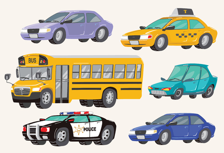 Set of Toy Vehicles. Special Machines, police car, Cars, school bus, city bus. Toy Cars Vector Illustration