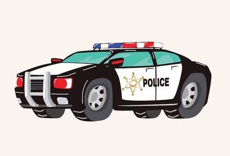 Funny cute hand drawn cartoon Police Car. Toy Cartoon Police Car. Toy Vehicles for Boys. Vector illustration.