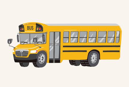 Ilustración de autobús escolar de dibujos animados dibujados a mano lindo divertido. Autobús escolar de dibujos animados de juguete. Vehículos de juguete para niños. Ilustración vectorial