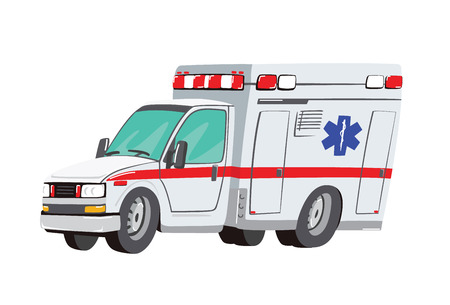 Vector illustration ambulance car on white background. Ambulance auto paramedic emergency. Ambulance vehicle medical evacuation. Cartoon ambulance silhouette on blue