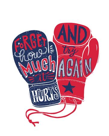 Boxing Fight Motivation Poster Print Illustration. Struggle Sport Concept Boxer Fist Glove Typography Vintage Banner. Champion Power Training T-shirt Print Vector Design Illusztráció