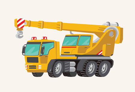 Funny cute hand drawn cartoon vehicles. Toy Car. Bright cartoon yellow Crane. Machines for the Building Work Toy Vehicles for Boys. Vector illustration.