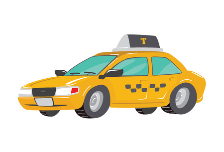 Flat high quality city service Car taxi. Toy Taxi Car. Funny cute hand drawn cartoon Taxi Illustration. Toy Taxi. Toy Vehicles for Boys. Vector illustration