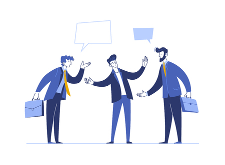 Flat design vector illustration concept of business conflict situation. Two businessman Shouting one each other. Debate opponents. Business people in a flat style. Banner design template