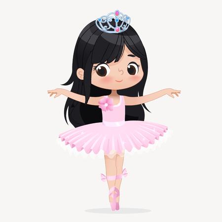 Schattig Kind Meisje Ballerina Dansen Geïsoleerd. Kaukasische balletdanser prinses karakter springen beweging. Elegante kinderkleding roze tutu voor school. Brunette Doll Concept platte Cartoon vectorillustratie. Vector Illustratie