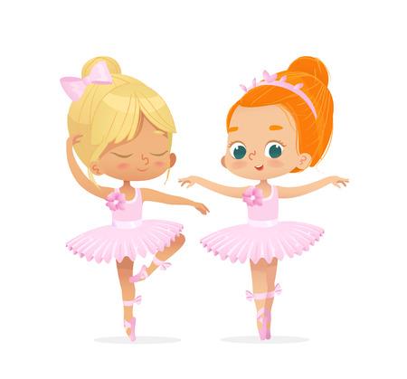 Cute Caucasian Ballerina Child Dancing Couple. Baby Ballet Dancer Princess Character Jump in Pink Tutu Dress. Girl Friendship in Training School. Little Blonde Kid Flat Cartoon Vector Illustration.