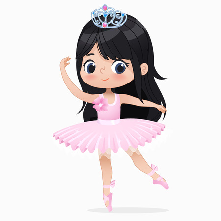 Jolie petite fille brune danse ballerine isolée. Caucasien danseur de ballet bébé princesse personnage saut mouvement. Poupée élégante porte une robe Tutu rose. Illustration de vecteur de dessin animé plat beau gosse.