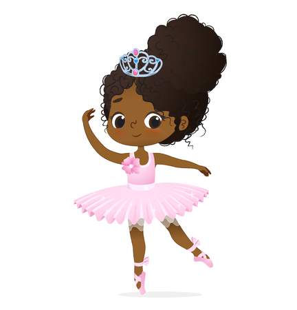 Cute African Princess Girl Ballerina Dance Isolated. Afro Ballet Dancer Sweet Baby Character Jump Action. Elegant Doll wear Pink Tutu Dress and Tiara. Training Concept Flat Cartoon Vector Illustration Banque d'images - 120403933