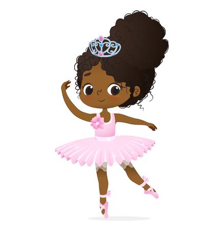 Cute African Princess Girl Ballerina Dance Isolated. Afro Ballet Dancer Sweet Baby Character Jump Action. Elegant Doll wear Pink Tutu Dress and Tiara. Training Concept Flat Cartoon Vector Illustration