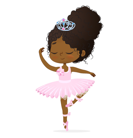 Cute African Princess Baby Girl Ballerina Dance 矢量图像