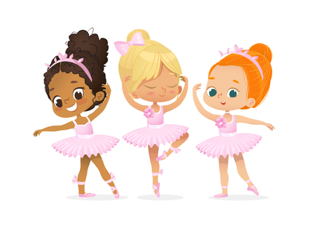 Cute Ballerina Girl Dancer Character Training Set