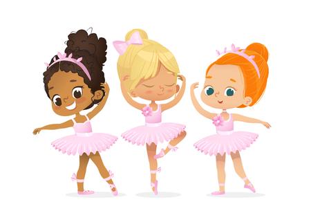 Zestaw szkoleniowy postaci tancerki Cute Ballerina Girl Ilustracje wektorowe