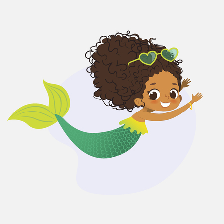 Mermaid African Character Mythical Cute Girl Nymph Illustration