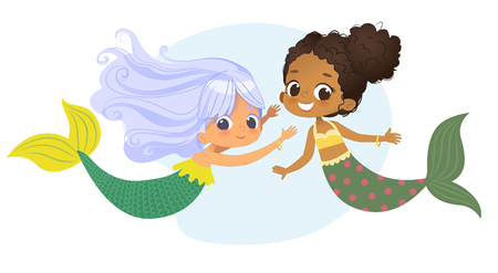 Mermaid African Caucasian Character Friend Nymph. Young Underwater African American Female Cute Mythology Princess Painting. Aquatic Isolated Marine Siren Drawing Flat Cartoon Vector Illustration Banco de Imagens - 120403952