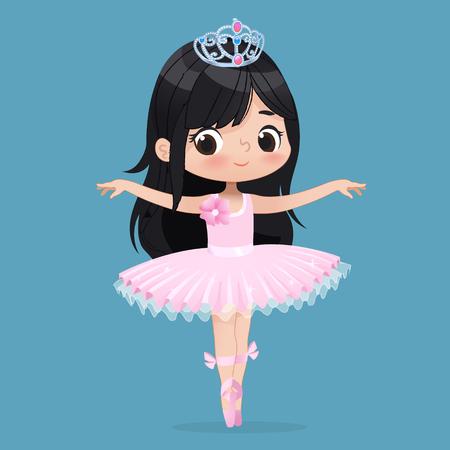 Cute Child Girl Ballerina Dancing Isolated. Caucasian Ballet Dancer Princess Character Jump Motion. Elegant Child wear Pink Tutu for School. Brunette Doll Concept Flat Cartoon Vector Illustration. Illustration