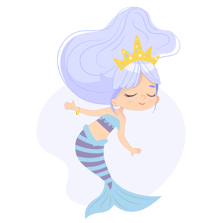Cute Mermaid Adorable Child Character Watercolor Art. Sea Underwater Woman Beauty Adorable Mythical Nymph in Crown. Mythology Fantasy Marine Siren. Ocean Creature Flat Cartoon Vector Illustration Illustration