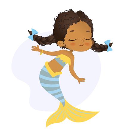 Mermaid African Character Beautiful Girl Sea Nymph Vektorové ilustrace