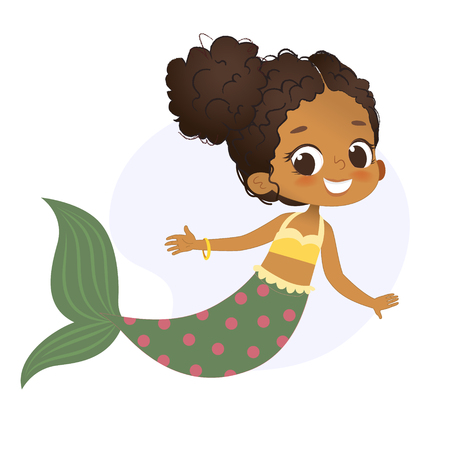 Mermaid Afro Character Mythical Girl Little Nymph  イラスト・ベクター素材