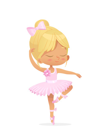 Cute Baby Girl Ballerina Dance Isolated Pink Dress