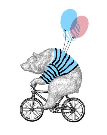 Bear Ride Bicycle Balloon Vector Illustration. Vintage mascotte mignon Grizzly Cycle Bike isolé sur blanc. Joyeux anniversaire personnage animal noir croquis. Contour plat Teddy Grunge Draw. Vecteurs