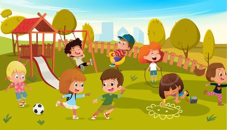 Ilustracja wektorowa plac zabaw dla dzieci w parku. Dzieci huśtawka na świeżym powietrzu w przedszkolu letniej szkoły. Tło Krajobraz Miasta. Chłopiec i dziewczynka postać z kreskówki sprzęt do aktywności.