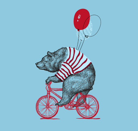 Bear Ride Bike Balloon Vector Grunge Print. Hipster Mascot Cute Wild Grizzly in Striped Vest on Bycicle Isolated. Blackwork Tattoo Animal Character Outline Sketch. Teddy Design Flat Illustration.