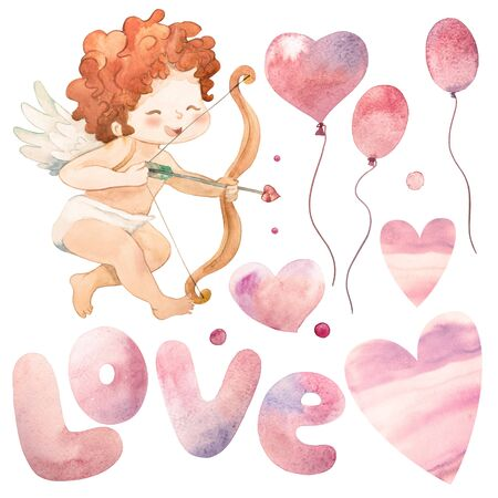 Funny little cupid blows a kiss. Watercolor Illustration of a Valentines Day. illustration in a cartoon style. Isolated on white background Stock Photo