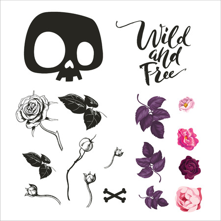 Skull and flowers collection. Vector illustration of black and white symbols and icons, such as skull, rose flowers, black and free lettering, leaves and branches. Isolated on white.