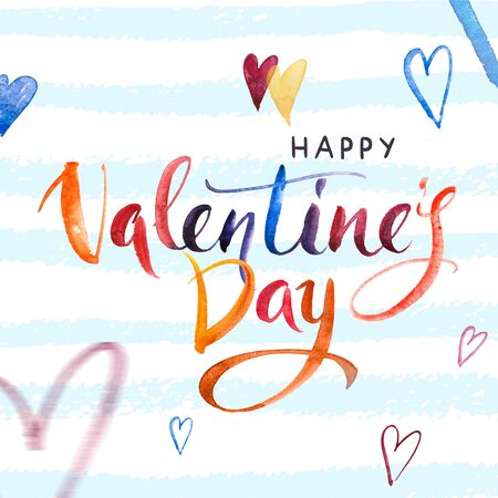 Happy Valentines day. Watercolor Hand drawn brush pen lettering and Hearts on background. Design holiday greeting card and invitation of wedding, Happy mother day, birthday, Valentines day Stockfoto
