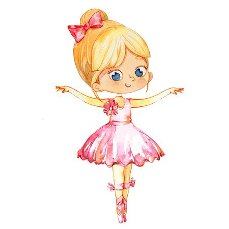 Blond Ballerina Princess Character Dancer Girl. Cute Child Girl wear pink Tutu Costume Training in School Class. Baby Ballet Poster Design Concept Watercolor Illustration. Isolated Foto de archivo - 133049334