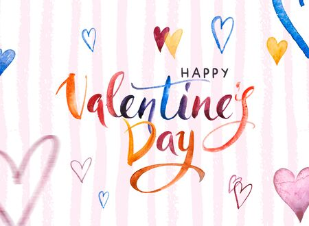 Happy Valentines day Banner. Watercolor Hand drawn brush pen lettering and Hearts on background. Design holiday greeting card and invitation of wedding, Happy mother day, birthday, Valentines day Stockfoto